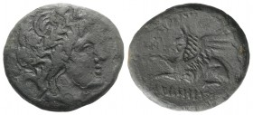 Thrace, Abdera, 3rd-2nd century BC. Æ (24mm, 7.79g, 1h). Alexander, magistrate. Laureate head of Apollo r. R/ Griffin seated l. Cf. AMNG II 238. Good ...