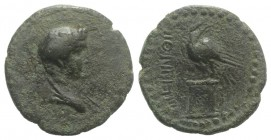 Thrace, Perinthos. Pseudo-Autonomous issue, 3rd century AD. Æ (22mm, 5.73g, 1h). Draped bust of Dionysos r. R/ Eagle standing l. on decorated altar, h...