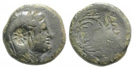 Moesia, Kallatis, c. 3rd-2nd century BC. Æ (18mm, 6.01g, 12h). Veiled and wreathed head of Demeter r.; c/m: eight-rayed star. R/ Corn-wreath. SNG BM B...