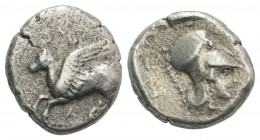 Akarnania, Leukas, c. 350-320 BC. AR Stater (20mm, 8.31g, 1h). Pegasos flying l. R/ Helmeted head of Athena r. Cf. Pegasi 91. Good Fine