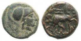 Thessaly, Thessalian League, 120-50 BC. Æ Dichalkon (15mm, 5.31g, 1h). Helmeted head of Athena r. R/ Horse trotting r. Cf. BCD Thessaly II 840. VF