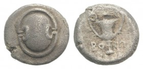 Boiotia, Federal Coinage, c. 395-340 BC. AR Hemidrachm (13mm, 2.46g). Boeotian shield. R/ Kantharos; above, club r.; BO-I across lower field; all with...