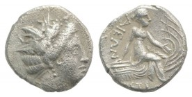 Euboia, Histiaia, 3rd-2nd centuries BC. AR Tetrobol (13mm, 2.30g, 6h). Wreathed head of the nymph Histiaia r. R/ Nymph seated r. on stern of galley; w...