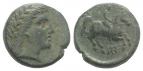 Uncertain mint, Æ (17mm, 5.06g, 12h). Laureate head of Apollo r. R/ Horseman r.; monogram below. Green patina, VF