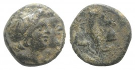 Black Sea Region, Uncertain mint, c. 125-00 BC. Æ (13mm, 2.43g, 12h). Jugate heads of the Dioskouroi(?) r. R/ Cornucopia between pileoi of the Dioskou...