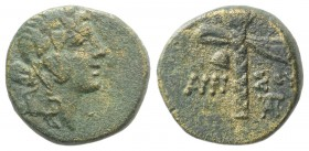 Pontos, Amisos. temp. Mithradates VI, c. 105-85 or 85-65 BC. Æ (16mm, 3.77g, 12h). Struck under Mithradates VI. Wreathed head of Dionysos r. R/ Fillet...