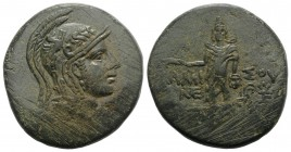 Pontos, Amisos. temp. Mithradates VI, c. 85-65 BC. Æ (31mm, 19.36g, 12h). Head of Athena r., wearing Attic helmet. R/ Perseus standing facing, holding...