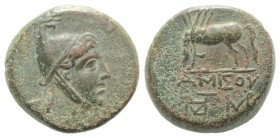 Pontos, Amisos, time of Mithradates VI, c. 85-65 BC. Æ (23mm, 12.48g, 1h). Helmeted head of Mithradates VI as the hero Perseus r. R/ Pegasos drinking ...