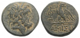 Pontos, Amisos, time of Mithradates VI, c. 85-65 BC. Æ (20mm, 8.35g, 12h). Laureate head of Zeus r. R/ Eagle standing l., head r., on thunderbolt; mon...