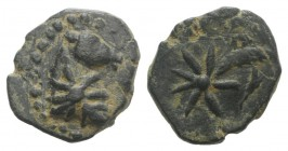 Pontos, Uncertain, c. 130-100 BC. Æ (12mm, 1.68g, 9h). Head of horse r., with star of eight points on its neck. R/ Comet star of eight points with tra...