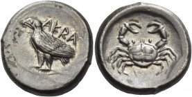 Sicily, Agrigentum. Didrachm circa 495-485, AR 8.71 g. AKRA Eagle standing l., with folded wings. Rev. Crab. SNG Lloyd 791 (these dies). SNG ANS 927 (...