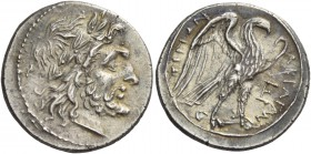 Sicily, Agrigentum. Drachm circa 213-211, AR 3.27 g. Laureate head of Zeus r. Rev. ΑΚΡΑΓΑΝ – ΤΙΝΩΝ Eagle standing r., with open wings; in r. field, E....