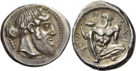 Naxos. Tetradrachm circa 460 BC, AR 17.25 g. Bearded and ivy-wreathed head of Dionysos r., his hair tied in a krobylos at nape of neck. Rev. Ν – ΑXΙ –...