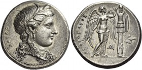 Syracuse. Tetradrachm circa 310-305, AR 17.04 g. KOPAΣ Head of Kore-Persephone r., wearing barley wreath, earring with drop pendant and necklace; hair...
