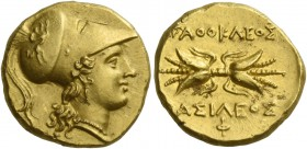 Syracuse. Double decadrachm circa 295-289, AV 5.69 g. Head of Athena r., wearing crested Corinthian helmet, bowl decorated with griffin. Rev. [Α]ΓΑΘΟΚ...