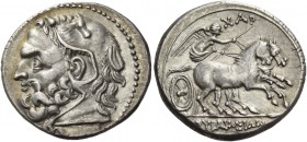Syracuse. 6 litrae 214-212, AR 5.01 g. Head of Heracles l., wearing lion's skin headdress. Rev. ΣΥΡΑΚΟΣΙΩΝ Nike driving fast biga r., holding whip; ab...