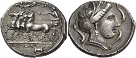 The Carthaginians in Italy, Sicily and North Africa. Tetradrachm, Thermae Himerensis circa 350, AR 16.95 g. Fast quadriga driven l. by charioteer, hol...