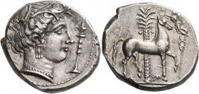 "The Carthaginians in Italy, Sicily and North Africa. Tetradrachm, uncertain mint in Sicily ""people of the camp"" circa 330-320, AR 17.26 g. Head of Tan..."