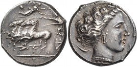 The Carthaginians in Italy, Sicily and North Africa. Tetradrachm, Ršmlqrt mint (Lilybaion ?) circa 325-300, AR 16.98 g. Fast quadriga l.; above, Nike ...