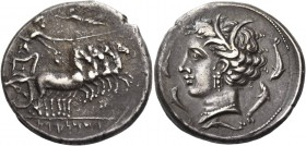The Carthaginians in Italy, Sicily and North Africa. Tetradrachm, Ršmlqrt mint (Lilybaion ?) circa 325-300, AR 16.88 g. Fast quadriga r.; above flying...