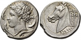 "The Carthaginians in Italy, Sicily and North Africa. Tetradrachm, uncertain mint in Sicily ""people of the camp"" circa 320, AR 17.07 g. Head of Tanit (..."