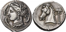 "The Carthaginians in Italy, Sicily and North Africa. Tetradrachm, uncertain mint in Sicily ""people of the camp"" circa 320, AR 16.96 g. Head of Tanit (..."