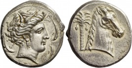 "The Carthaginians in Italy, Sicily and North Africa. Tetradrachm, uncertain mint in Sicily ""people of the camp"" circa 320, AR 16.93 g. Head of Tanit (..."