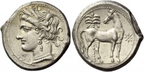 The Carthaginians in Italy, Sicily and North Africa. Shekel, Carthago circa 280-260 BC, AR 7.44 g. Head of Tanit (Kore-Persephone) l., wearing barley-...