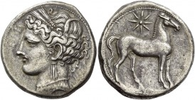 The Carthaginians in Italy, Sicily and North Africa. Trishekel, Carthago circa 264-241 BC, AR 13.45 g. Head of Tanit (Kore-Persephone) l., wearing bar...