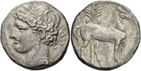 The Carthaginians in Italy, Sicily and North Africa. Trishekel, Carthago circa 264-241 BC, billon 18.83 g. Head of Tanit (Kore-Persephone) l., wearing...
