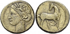 The Carthaginians in Italy, Sicily and North Africa. 1 and 1/2 shekel, Carthago circa 203-201, billon 10.02 g. Head of Tanit (Kore-Persephone) l., wea...