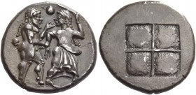 Thraco-Macedonian Tribes, Siris or Lete. Stater circa 490, AR 9.83 g. Nude ithyphallic satyr grasping r. arm of nymph, trying to move away from him; i...