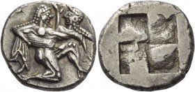 Islands off Thrace, Thasos. Stater circa 490, AR 9.71 g. Naked ithyphallic satyr supporting nymph under thighs with r. arm, the l. hand under her back...