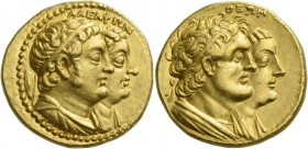 Ptolemy II Philadelphos, 285 – 246 BC. Octodrachm, Alexandria after 265 BC, AV 27.79 g. ΑΔΕΛΦΩΝ Jugate busts r. of Ptolemy II, draped and diademed and...