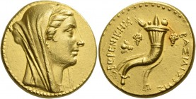 Ptolemy III Euergetes, 246 – 222. In the name of Berenice II. Octodrachm, Ephesus after 241, AV 27.87 g. Diademed and veiled bust of Berenice II r. Re...