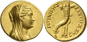 Ptolemy III Euergetes, 246 – 222. In the name of Berenice II. Octodrachm, Alexandria after 241, AV 27.84 g. Diademed and veiled bust of Berenice II r....