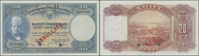 Albania: 20 Franka Ari ND(1926) Specimen P. 3s, crisp original paper with 2 cancellation holes, red ANNULATO overprint, zero serial numbers, no tears ...
