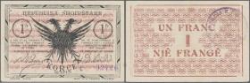 Albania: 1 Frang 10.10.1917 P. S146, light center and corner bends but no strong folds, crispness in paper and original colors, no holes or tears, con...