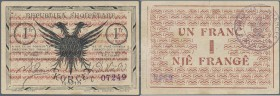 Albania: 1 Frang 10.10.1917 P. S146, used with one vertical fold and light handling / dints in paper, no holes, one 5mm tear at upper border along cen...