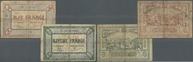 Albania: set of 2 notes 0.50 & 1 Frange ND P. S148, S151, both stronger used with folds and stain in paper, strong center fold, center holes, no repai...