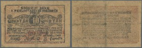 Albania: rare note TREASURY OF SHKODËR, Albania Qindtár Issue, 1 Qindtár 1920 P. S172, very strong used with very strong folds, several holes in paper...
