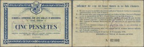 Andorra: rare note of 5 Pessetes 1936 P. 6, used with folds and creases, stronger center fold, but no large damages, no repairs, original as taken fro...
