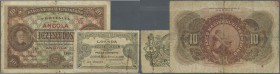 Angola: Banco Nacional Ultramarino pair with 5 Centavos 1918 P.49 and 10 Escudos 1921 P.58, both with small border tears and stains. Condition: F- (2 ...