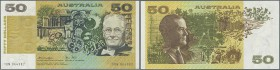 Australia: 50 Dollars ND(1973-94) P 47c, crisp original paper with bright original colors, only one very light and very very hard to see center bend, ...