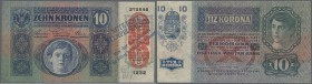"Austria: 10 Kronen 1915 P. 19 with forged red overprint at right (to make it look like P. 51), the note is stamped ""Note Echt Stempel falsch"" (Note au..."