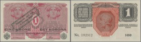 Austria: 1 Krone 1920 P. 41 stamped on 1 Krone 1916, light handling in paper, no folds or holes, condition: aUNC.
