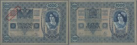 Austria: 1000 Kronen 1920 P. 48 stamped on 1000 Kronen 1902, center and horizontal fold, no holes or tears, crispness in paper, bright colors, conditi...