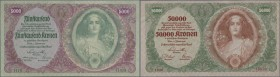 Austria: set of 3 notes containing 5000 Kronen 1922 P. 79 (XF to XF+) and 2x 50.000 Kronen 1922 P. 80 with different serial number types (1x VF+, 1x X...