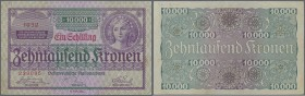 Austria: 1 Schilling on 10.000 Kronen 1924 P. 87, center fold, corner fold, handling in paper, still with crispness and original colors, condition: VF...