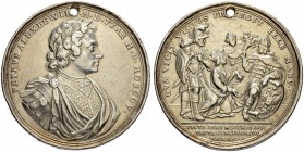 RUSSIAN EMPIRE AND FEDERATION. Peter I, 1682-1725. Silver medal 1700. On the peace of Carlowitz, 13 July 1700. Dies by G. Hautsch and G. F. Nürnberger...
